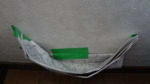 石膏ボード 穴空け時の粉受け