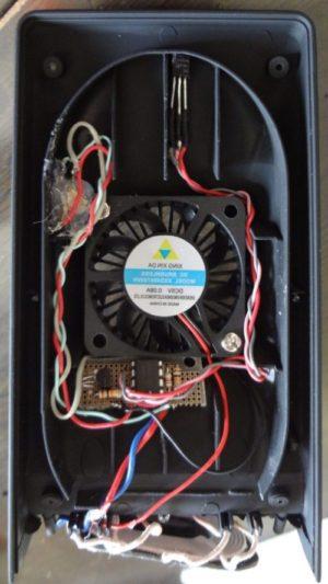 ワイヤレスqi充電スタンドの冷却ファン動作を温度感知式に改造。