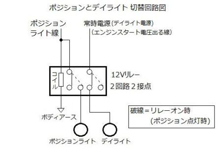 デイライト ポジション スモール 切替 回路